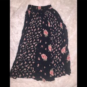 Long black pink green floral maxi skirt m